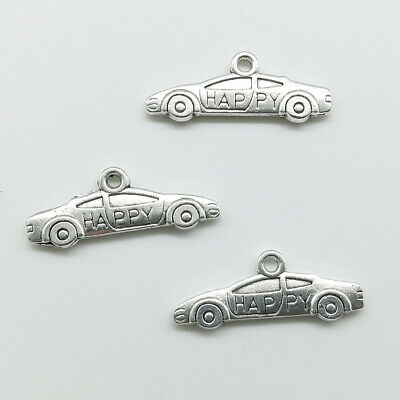 Wholesale double-sided sedan car antique silver charms pendants jewelry 10*26mm