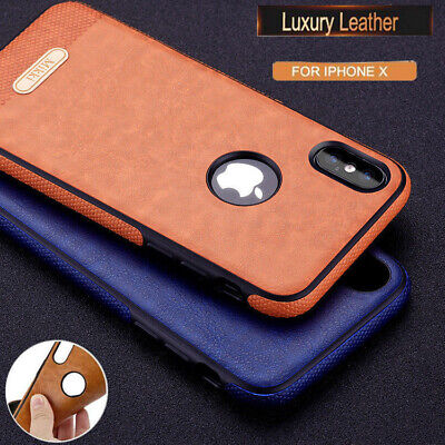 Slim Luxury LEATHER Back Ultra Thin TPU Skin Case Cover for iPhone X 8 7 6s Plus