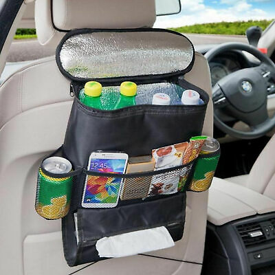 Car Back Seat Organiser with COOL BAG Insulated Travel Cold Drinks Thermal Pack