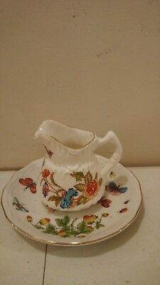 Vintage Miniature Porcelain/China Creamer And Saucer Set Butterflies Unmarked