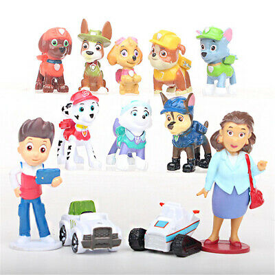 Paw Patrol Ryder Action Figure 6 Pups 5 Vehicles 12 pcs Cake Topper Kid Gift Toy