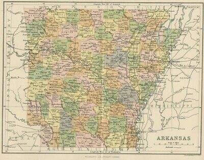 ARKANSAS MAP: AUTHENTIC 1897; showing Counties, Cities & Towns, Topography,  RRs