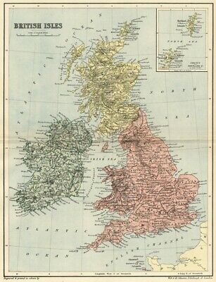 Map Of England Ireland Scotland Wales.British Isles Map Authentic 1895 England Scotland Wales