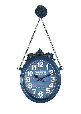 Oval Hanging Clock w Chain Picture Hangers Antique French Paris Parisian Style