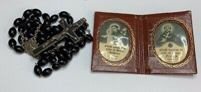 † Antique Touched First Class Relic St Francis Assisi & Anthony Shrine  Rosary †