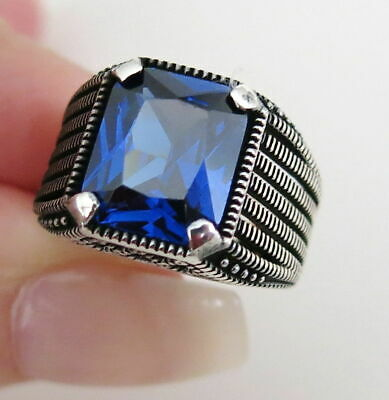 Turkish jewelry 925 Sterling Silver blue sapphire stone Mens ring ALL SİZE us 04