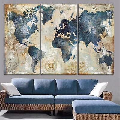 Blue World Map Canvas Art Print for Wall Decor Painting