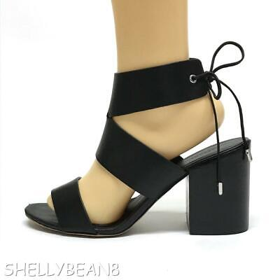 2674c4c638b REBECCA MINKOFF CHRISTY City Sandals Black Leather TIE BACK Block Heels   258 8.5