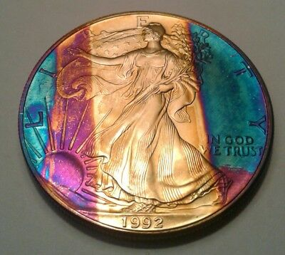 1992 american silver  eagle dollar with beautiful toning, TONED $...
