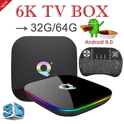 Hot 6K 3D Android 9.0 Q Plus 32/64G Quad Core TV Box WIFI H.265 With Keyboard i8
