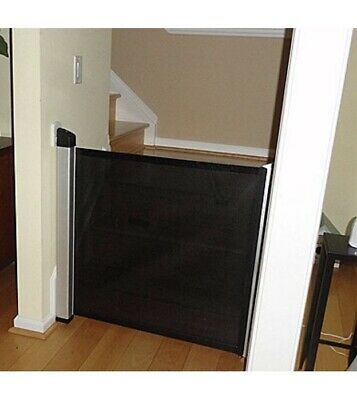 Lascal KiddyGuard Accent Retractable Baby Safety Gate, Black Mesh