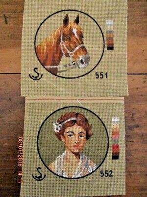 ~2 x BN ANCHOR? TAPESTRY CANVAS - GIRL - HORSE - UNUSED~