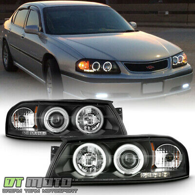 Black 2000 2005 Chevy Impala Led Ccfl Projector Headlights Headlamps Left Right