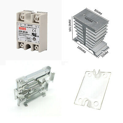 1set SSR-60DA Solid State Relay Module Assortments Kit DC-AC 60A With Heat Sink