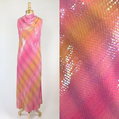 VTG 60s 70s Psychedelic Sequined Rainbow Sherbet Draped Cowl Column Gown M