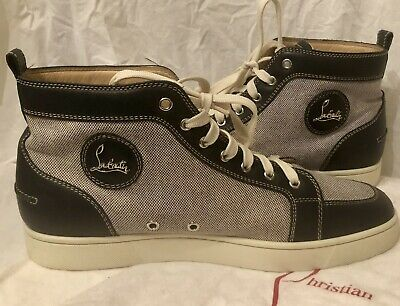 Rare Mens Christian Louboutin High Top Sneakers Red Bottoms Navy White 45 Us 12