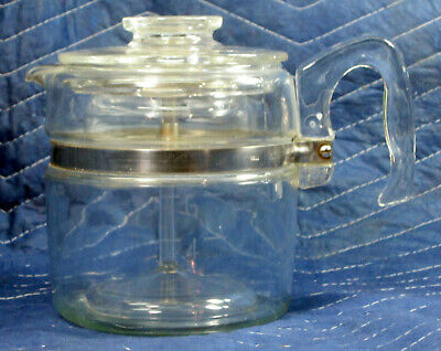 Vintage Pyrex Flameware 7756 B Stove Top 6 Cup Coffee Pot Percolator Complete
