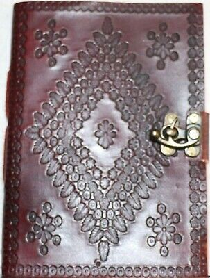 Leather, Journals,Embossed Diamond Design, Notebook, Diary, Guest, Sketch, Lock