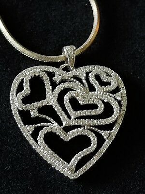 336803e8a Large Hearts in a Heart CN FZN Sterling Silver CZ Pendant 5 Sided Chain 16