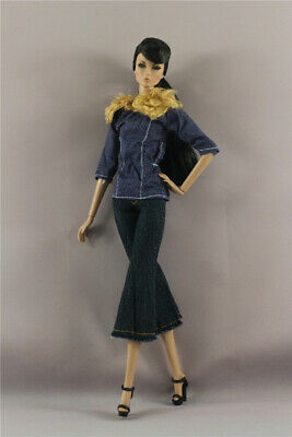 2in1 Set Fashion denim Jacket Top Outfit +Pants For 11.5 in.12 in. Doll