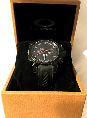 c7cdd46a347 Oakley Men s Swiss Made Stainless Stealth All Black Double Tap Watch - Rare  Find