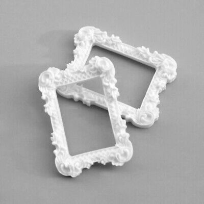 2Pcs Miniature Art Picture Photo Painting White Frame For 1:12 Dollhouse Home