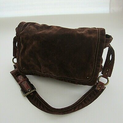 6fd1511c9afa FOSSIL MESSENGER BAG Canvas Brown Crossbody Purse Orange Liner ...