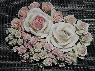 55 paper ROSES ROXPW::: Pink & White Wedding Floral decorations Mixed sizes