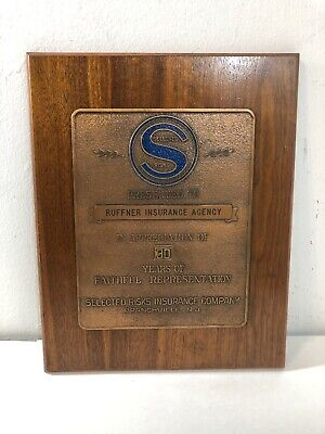 Selected Risks Insurance Company Appreciation Wall Plaque