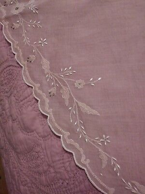 """Gorgeous Mauve Pink Organdy Embroidered / Applique Madeira Round Tablecloth 74"""""""