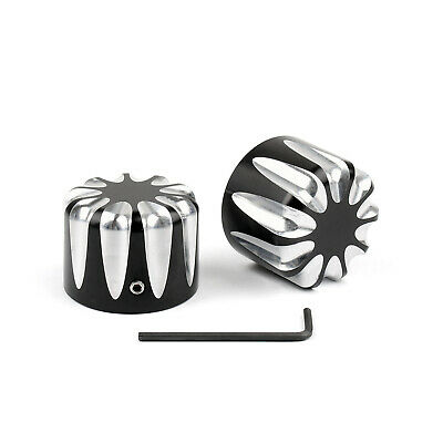 Black Front CNC Cut Axle Nut Cover For Harley Electra Street Road Glide A0
