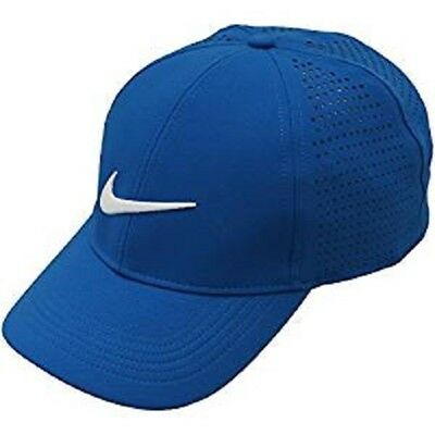 0ae2d175 NIKE AEROBILL GOLF Perforated Adjustable Cap Hat Blue Jay / White ...