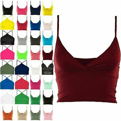 Ladies Womens Bra Strap Crop Top Wrap Cross Over Bralet Strappy Tops Plus Size