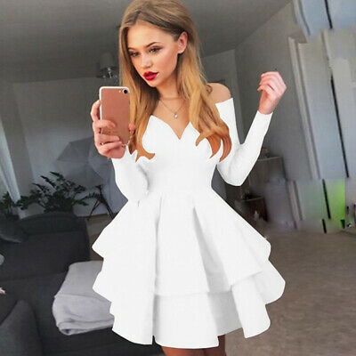Women V Neck Long Sleeve Dress Ladies Wedding Evening Party Cocktail Gown 8C