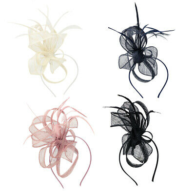 Ladies Womens Elegant Sinamay Flower Feather Headband Fascinator Hair Band