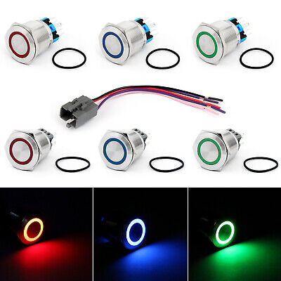 25mm 24V Ring LED Push Button Switch Stainless Steel For Car/Boat/DIY 250V 5A A0