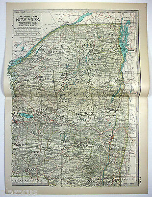 Original 1902 Map of Northern & Eastern New York State by The Century Co Antique