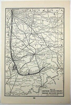 ORIGINAL 1907 MAP of the Southern Indiana & Chicago Southern Railways