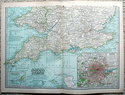 Original 1897 Map of Southern England & Wales by The Century Co. Antique