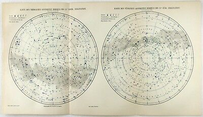 Antique Print: Stars of the Northern & Southern Sky's. Astronomy Celestial