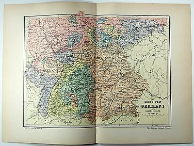 Original 1895 Map of South West Germany by  W & A.K. Johnston. Antique