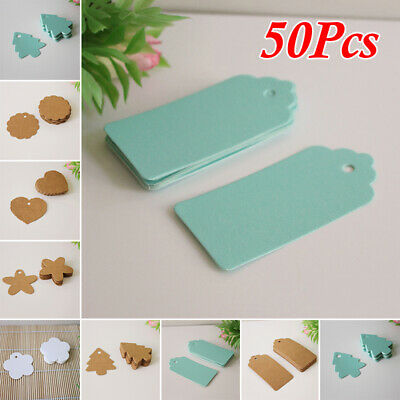50Pcs Kraft Paper Hang Tags Wedding Party Favor Label Blank Gifts Cards 3 Colors