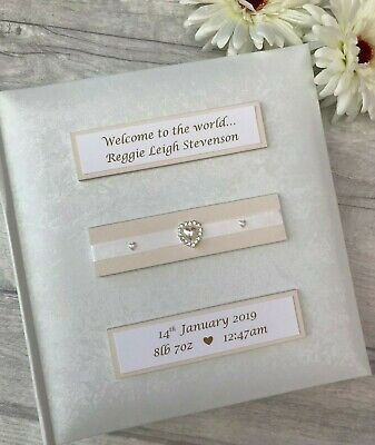 Personalised Traditional Newborn Baby Welcome Photo Album Gift 200 6x4 Photos