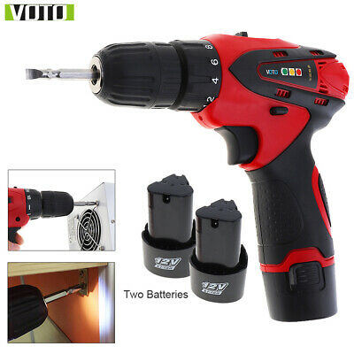 12V Cordless Electric Impact Drill Driver Screwdriver 2 Li-Ion Battery Two-speed