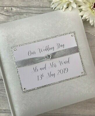Personalised Traditional Our Wedding Day Glitter Photo Album Gift 200 6x4 Photos