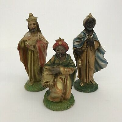 Three Kings Wise Men 3 Pieces 5.5 Inch Vntg Made In Italy Christmas Decorations