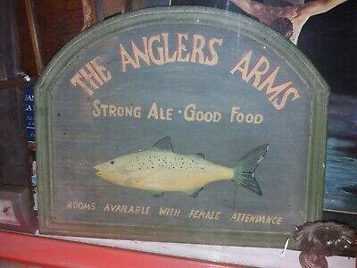 The Anglers Arms Strong Ale Good Food, Rooms Available. Antigua placa pez en 3D