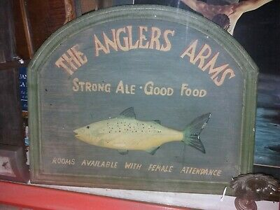 The Angles Arms Strong Ale Good Food, Rooms Available. Antigua placa pez en 3D