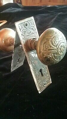 Antique Victorian Eastlake Brass Door Knob Set and Plates old hardware