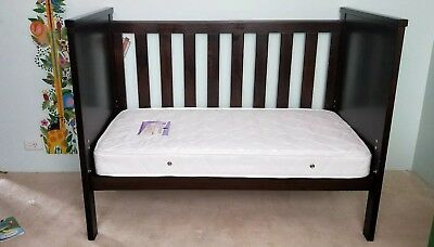 Grotime Legacy 4-in-1 Cot, Chocolate Brown with mattress.